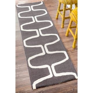 nuLOOM Handmade Mod Trellis Wool Grey Runner Rug (2'6 x 8')