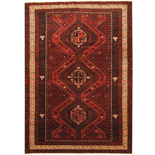 Herat Oriental Afghan Hand-knotted Tribal Balouchi Red/ Ivory Wool Rug (6'9 x 9'8)