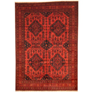 Herat Oriental Afghan Hand-knotted Tribal Khal Mohammadi Red/ Navy Wool Rug (6'7 x 9'5)