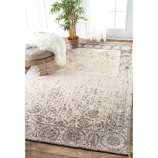 nuLOOM Vintage Faded Florettes Distressed Beige Rug (8'6 x 11'6)