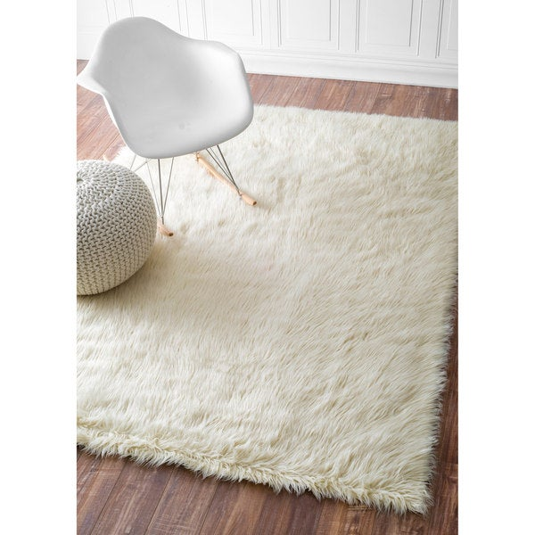 Sheepskin Rug Square: NuLOOM Cozy Soft And Plush Faux Sheepskin Solid Shag White