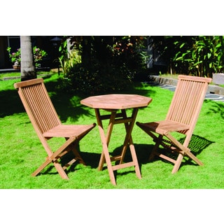 Vineyard Teak Folding Octagon Table and 2 Chairs Set