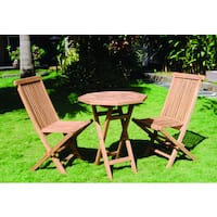 Handmade Vineyard Teak Folding Octagon Table and 2 Chairs Set (Indonesia)