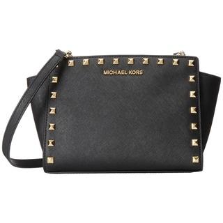 Michael Kors Selma Stud Black Medium Crossbody Handbag