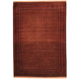 Herat Oriental Afghan Hand-knotted Tribal Turkoman Red/ Ivory Wool Rug (6'6 x 9'5)