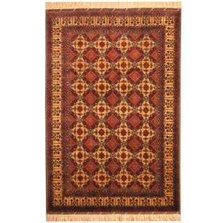 Herat Oriental Afghan Hand-knotted Tribal Turkoman Gold/ Red Wool Rug (6'7 x 9'10)