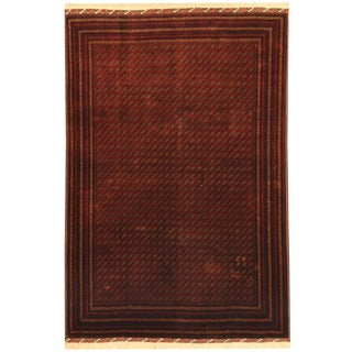 Herat Oriental Afghan Hand-knotted Tribal Turkoman Red/ Ivory Wool Rug (6'7 x 9'6)
