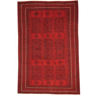 Herat Oriental Afghan Hand-knotted Tribal Balouchi Wool Rug (6'2 x 9'5)