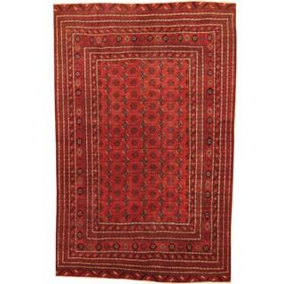 Herat Oriental Afghan Hand-knotted 1960's Semi-antique Tribal Turkoman Wool Rug (6' x 9'7)