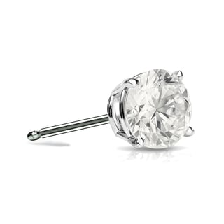 Auriya 14k Gold 1/2ct TDW 4-Prong Push-Back Round Diamond Single Stud Earring (I-J, I1-I2)