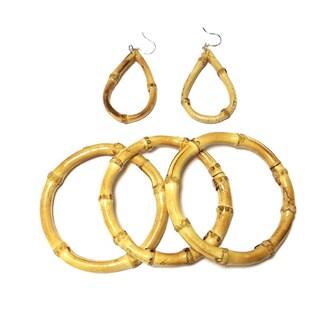 Handmade Bamboo Bracelet Earring Set (Vietnam)