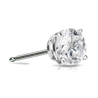 Auriya 14k Gold 3/4ct TDW 4-Prong Push-Back Round Diamond Single Stud Earring (H-I, SI1-SI2)