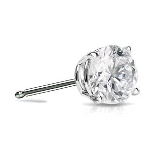 Auriya 14k Gold 3/4ct TDW 4-Prong Push-Back Round Diamond Single Stud Earring (H-I, SI1-SI2)