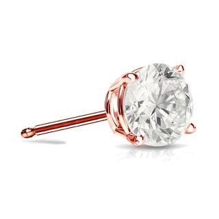 Auriya 14k Gold 3/4ct TDW 4-Prong Push-Back Round Diamond Single Stud Earring (I-J, I1-I2)