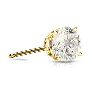 Auriya 14k Gold 3/4ct TDW 4-Prong Push-Back Round Diamond Single Stud Earring (J-K, I2-I3)