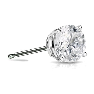 Auriya 14k Gold 1ct TDW 4-Prong Push-Back Round Diamond Single Stud Earring (H-I, SI1-SI2)