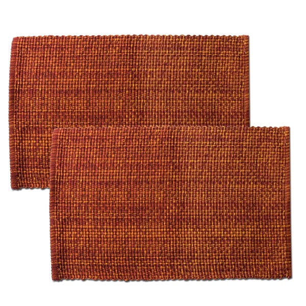 Rust Cotton Two-tone Placemats (Set of 2, 4 or 6)