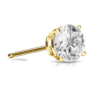 Auriya 14k Gold 1ct TDW 4-Prong Push-Back Round Diamond Single Stud Earring (I-J, SI2-SI3)