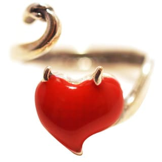 Silverplated Statis Ring with Red Enamel Heart
