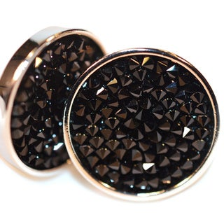 Silverplated Round Karpo Earrings with Black Crystals