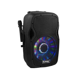 Knox KN-BTAS15 15-Inch Rolling Rechargeable Bluetooth PA Speaker System with Party Lights
