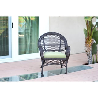 Santa Maria Espresso Wicker Chairs with Cushions (Set of 4)