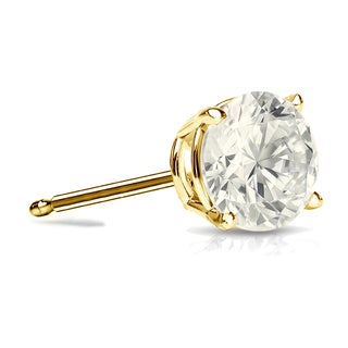Auriya 14k Gold 1ct TDW 4-Prong Push-Back Round Diamond Single Stud Earring (J-K, I2-I3)