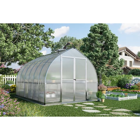 Palram Bella 8' x 20' Hobby Greenhouse with Twin Wall Roof Panel and Aluminum Frame - Silver