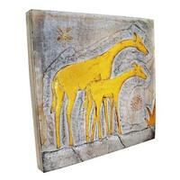 Handmade Giraffe and Baby Wall Panel (Indonesia)