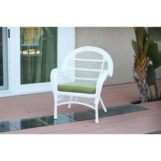 Santa Maria White Wicker Chairs with Cushions (Set of 4)