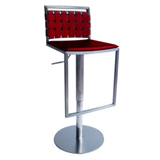 Sigma Red Leather and Stainless Steel Bar Stool