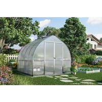 Palram Bella 8' x 8' Hobby Greenhouse with Twin Wall Roof Panel and Aluminum Frame - Silver
