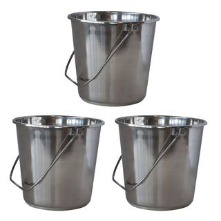 AmeriHome XLarge Stainless Steel Bucket Set  3 Piece