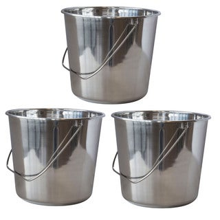 AmeriHome Large Stainless Steel Bucket Set  3 Piece