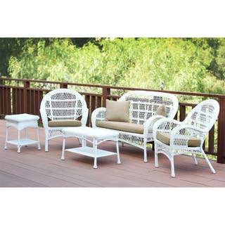 Shop White Wicker 5 Piece Conversation Set With Cushions