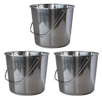 AmeriHome Medium Stainless Steel Bucket Set – 3 Piece