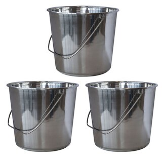 AmeriHome Medium Stainless Steel Bucket Set  3 Piece