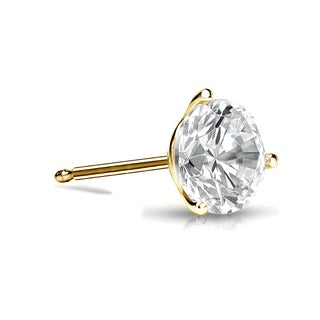 Auriya 14k Gold 1/3ct TDW 3-Prong Push-Back Round Cut Diamond Single Stud Earring (I-J, SI2-SI3)