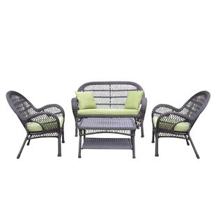 Santa Maria 4-piece Espresso Wicker Conversation Set with Cushions