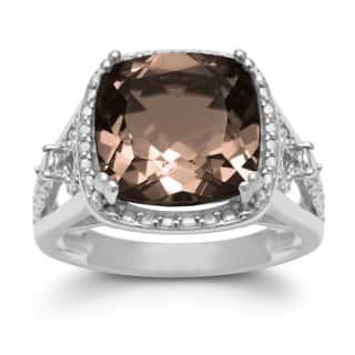 5 1/3 TGW Cushion Cut Halo Style Smoky Quartz Ring In Sterling Silver - Brown|https://ak1.ostkcdn.com/images/products/11404147/P18369538.jpg?impolicy=medium