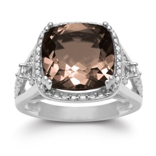 5 1/3 TGW Cushion Cut Halo Style Smoky Quartz Ring In Sterling Silver - Brown (2 options available)