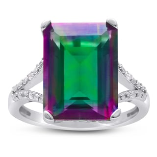 10 Carat Emerald Shape Mystic Topaz and Diamond Ring