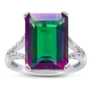 10 TGW Emerald Shape Mystic Topaz and Diamond Ring|https://ak1.ostkcdn.com/images/products/11404148/P18369539.jpg?impolicy=medium