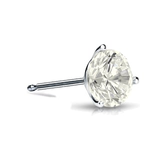 Auriya 14k Gold 1/3ct TDW 3-Prong Push-Back Round Cut Diamond Single Stud Earring (J-K, I2-I3)