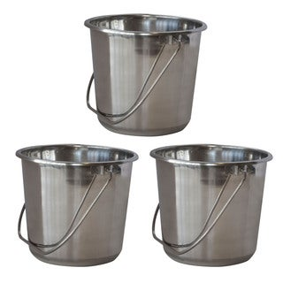 AmeriHome Small Stainless Steel Bucket Set  3 Piece