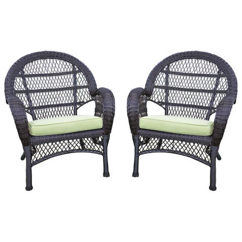 Santa Maria Espresso Wicker Chair With Cushion (Set of 2)