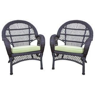 Santa Maria Espresso Wicker Chair With Cushion (Set of 2)