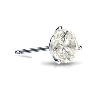 Auriya 14k Gold 1/2ct TDW 3-Prong Push-Back Round Cut Diamond Single Stud Earring (J-K, I2-I3)