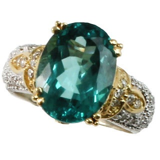 Michael Valitutti 18k Yellow Gold Apatite and Diamond Ring