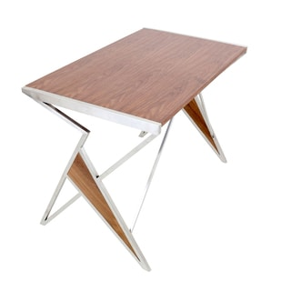 Tetra Contemporary Desk in Walnut Wood + Stainless Steel